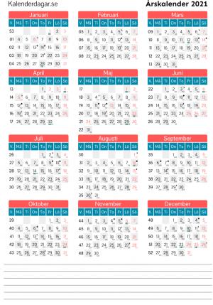 Årskalender veckor och dagar 2021