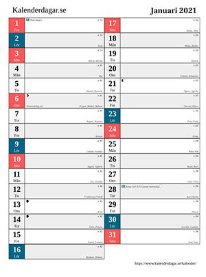 Månadskalender exempel