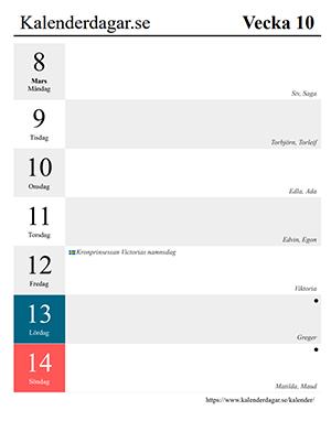 Veckokalender 2021 exempel